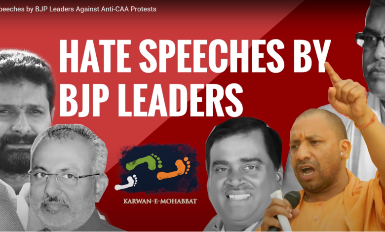 Photo of Hate Speeches by BJP Leaders against Anti CAA Movement